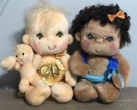 Lot of 2 Vintage 1985 HUGGA BUNCH Plush Dolls Patooty & RARE Bubbles - HTF