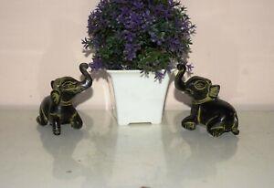 Brass Duo Baby Elephant Figurine Fascinating Mini Ganesha Birthday Statue EK869