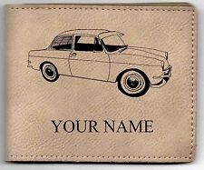 VW Type 3 Notchback Leather Billfold With Drawing & Your Name On It-Nice Quality