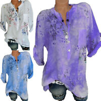 Plus Size Womens Long Sleeve Blouse Ladies Floral V Neck Casual Loose Shirt Tops