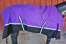 """56"""" PURPLE 600D SAFETY REFLECTIVE WATERPROOF TURNOUT PONY HORSE WINTER BLANKET"""