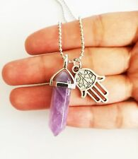 Amethyst Point Necklace Pendant Silver Boho Hamsa Hand Charm Crystal Chevron NEW