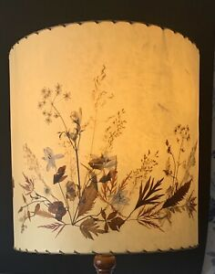 VINTAGE LARGE LATE 20TH C HAND MADE PRESSED FLOWER FLOOR LAMP SHADE