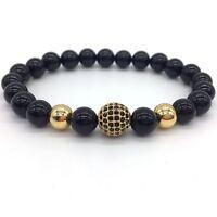 Fashion High Quality Lava Stone Beads And Black CZ Ball Men Charm Bracelets Gift