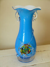 Art Glass Handcrafted Cased Glass Vase With Applied Confetti Rose Floral Accent