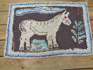 "Antique Primitive Horse Hooked Rag Rug Carpet 31"" x 21"" NO RESERVE"