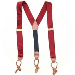 Brooks Brothers Mens Silk Braces Suspenders Solid Dark Red Twill Leather Tabs