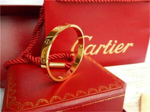 Authentic CARTIER Love 18k Yellow Gold Size 17 Bangle Bracelet