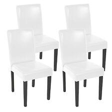 4x Esszimmerstuhl Stuhl Lehnstuhl Littau Kunstleder, weiß dunkle Beine