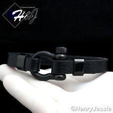 """8""""MEN WOMEN Stainless Steel 10mm Black Horseshoe Design Leather Bracelet*BB84"""