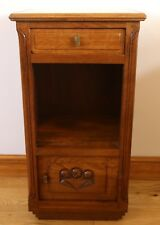 Art Deco French Oak Bedside Cabinet with Marble Top