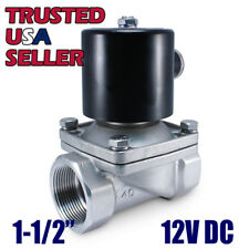 "1-1/2"" SS 12V DC STAINLESS STEEL Electric  Solenoid Valve Water Air Gas 12 VDC"