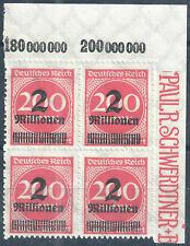 MiNr. 309BPa im Viererblock vom Plattenoberrand aus Ecke 2 postfrisch (2)