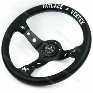 13inch JDM White Embroidery Vertex Genuine Leather Drift Sport Steering Wheels