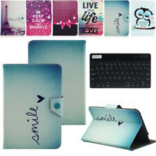 """US For 7"""" 7 Inch Tablet Wireless Keyboard Universal Pattern Leather Case Cover"""