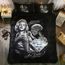 Marilyn Monroe Skull Black Bedding Comforter Set Pillow Case Duvet Cover Queen