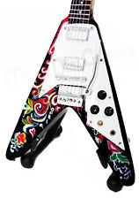 Miniature Guitar JIMI HENDRIX with free stand FLYING V PSYCHEDELIC