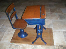 1930's Antique Metal and Wood Childrens Elementary School Desk and Chair Nice