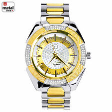 Men's Iced Out Fashion G/S Plated Stainless Steel Metal Band Watches WM 8362 TT