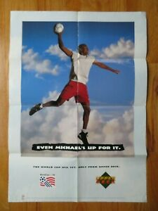 Upper Deck MICHAEL JORDAN 1994 World Cup Soccer Poster CHICAGO BULLS Up for It