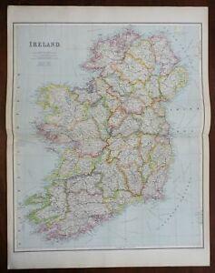 Island of Ireland Leinster Munster Ulster Connacht Dublin 1914 fine large map