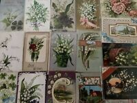 Pretty Lot of 21 Vintage Greetings Postcards w. Lily of the Valley Flowers-a626