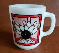 Vintage Anchor Hocking Milk Glass Coffee Mug - Bowling Ball & Pins - Made in USA