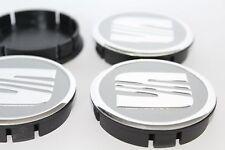 SEAT 4pcs Plastic Wheel Centre Caps with Alu Emblem 60mm/55mm NEW