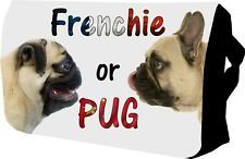 Frenchie vs Pug Bag with name College / Messenger / Sholder / School/ lap top