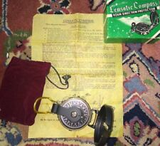 Vintage Academy Lensatic Compass Hiking Directions Original Box / Carrying Pouch