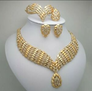 Women Wedding Dubai Gold Plated Africa Bridal Necklace Bracelet Ring Jewelry Set