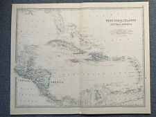 1881 WEST INDIES & CENTRAL AMERICA LARGE HAND COLOURED ANTIQUE MAP BY JOHNSTON