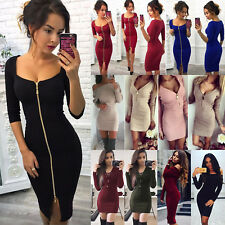 Women Autumn Winter Long Sleeve Knit Bodycon Cocktail Party Sweater Mini Dress