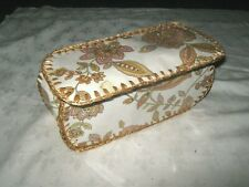 A Vintage Retro Brown Floral Card Craft Sewing Knitting Storage Basket