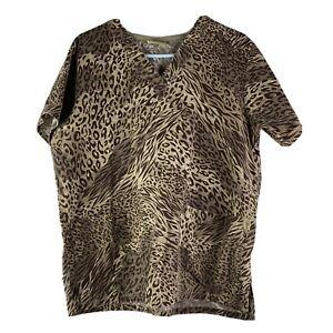 Tafford Scrub Top Womens Brown Cheetah Print No Size Tag See Last Pic