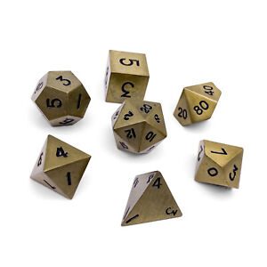 7 Polyhedral Metal Dice Bronze Dragon Scale Norse Foundry D&D Pathfinder RPG