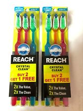 6 Pcs Reach Crystal Clean Toothbrush Soft Bristles