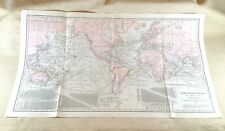 1916 Antique Steamship Routes World Map Lines Liner Chart LARGE Rare