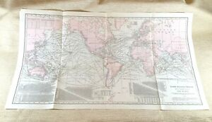 1916 Antique Steamship Routes World Map Shipping Lines Liner Chart LARGE Rare