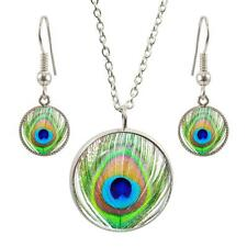 Peacock Feather Design Silver Plated Pendant & Earring Gift Set