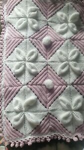 Hand Knitted Baby Blanket In White And Lilac