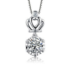 Fashion 925 Sterling Silver White Crystal Crown Pendant Necklace  Women's Chain