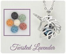 Unicorn Aromatherapy Essential Oil Necklace Pendant Diffuser with 6 lava stones!