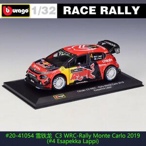 BBURAGO 1:32 Citroen C3 WRC 2019 Monte Carlo 4#DS WRC rally car alloy model