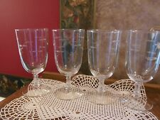 Lot set of 4 Crystal Glass Glasses Etched Iced Tea Beverage Glasses Stems Goblet