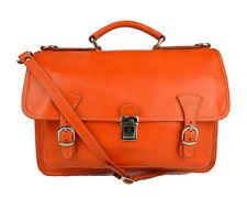 Borsa uomo donna cartella valigetta zaino uomo 24 ore vera pelle arancione