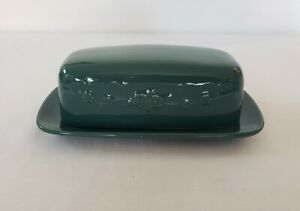 Vintage W Bach Angelica Dark Green 1/4 Lb Covered Butter Dish Embossed Flowers