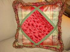 Designer Pillow Velvet Sateen Pink Green Home Decor Frisee Fringe Large
