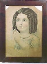 Antique N Currier Print Evening Prayer Little Girl Praying Lithograph So Sweet