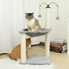 Cat Tree Scratching Post Scratcher Kitten Funny Toy Hammock Bed 2 Dangling Ball